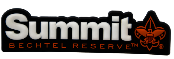 Rubberized magnet of Summit logo with black background, white lettering, and orange BSA fleur-de-lis