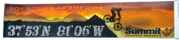 Rectangular bumper sticker with an orange sunset with the wording, Boy Scouts of America at the top, a mountain range with a mountain biker, the Summit coordinance and the Summit logo.