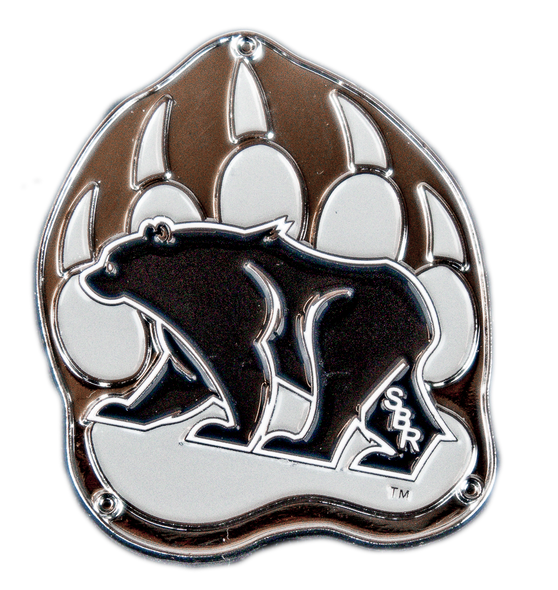Silver refrigerator magnet of the Summit Bear/Paw Logo (black bear in the center of a gray bear paw).