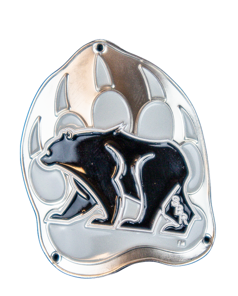 Silver medallion in the shape of the Summit Bear/Paw logo (Black Bear in the center of a gray bear paw).