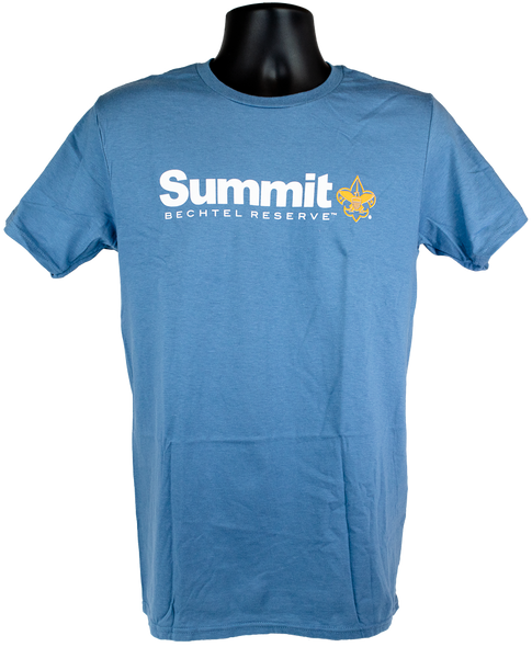 Men's blue short sleeve cotton tee with Summit Logo (Summit large print in white, Bechtel Reserve below Summit and BSA Fleur-de-lis in orange).  Logo is center chest.
