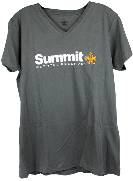 Ladies dark gray V-neck tee with the Summit logo(Summit is creamy white with Bechtel Reserve in small print below Summit in orange and an orange BSA Fleur-de-lis), center chest.