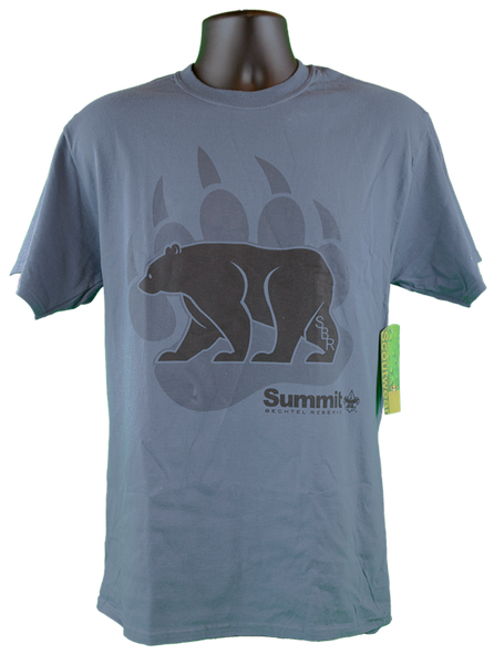 Men's Slate blue tee with the screen print design center of shirt of Summit Bear/Paw logo (black bear and wording with gray claw in background).