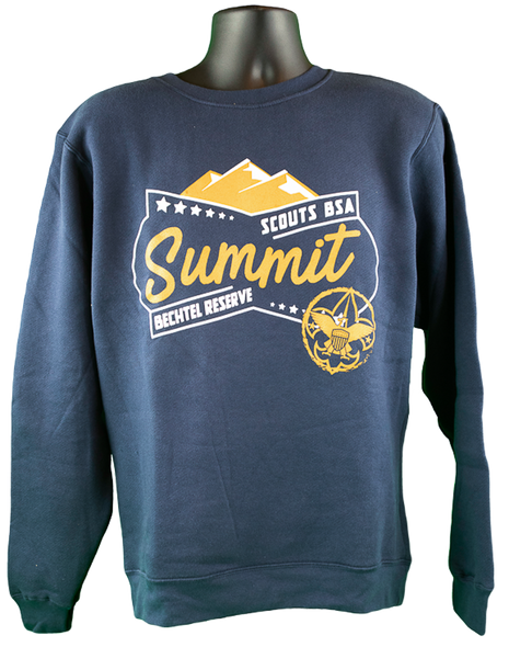 Navy blue crew neck sweatshirt. Center chest logo in orange and white screen print; Summit in orange large lettering in center, Bechtel Reserve in white smaller lettering below Summit on left, Scouts BSA in white lettering above Summit and on right,  orange BSA logo bottom left of design and orange mountains above Summit.