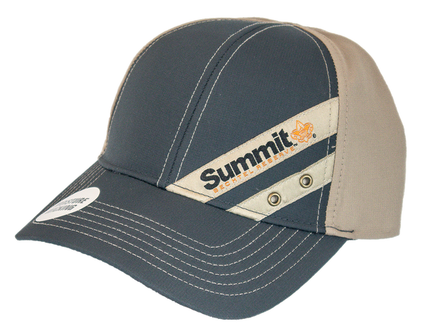 Moisture wicking cap, tan back and gray front and bill with Summit Bechtel Reserve logo embroidered on a tan diagonal stripe on the front left side with a slide closure.