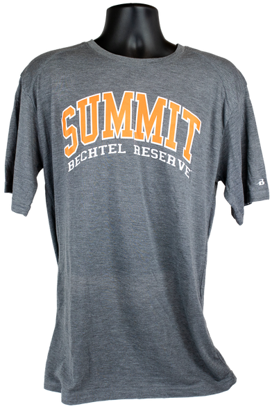 Dark heather gray, very soft Tri-Blend Tshirt with wording SUMMIT in orange and Bechtel Reserve in white lettering below SUMMIT in an arch located in center chest.