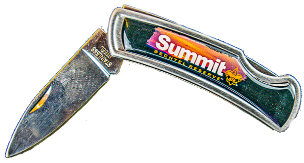 Lockback Souvenir pocketknife with summit logo -Side 1