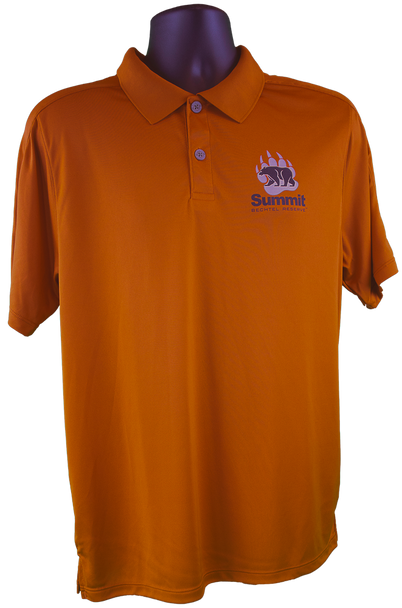 Rust orange polo shirt with performance fabric and small bear/paw logo in right chest corner (gray paw, black bear and Summit lettering)