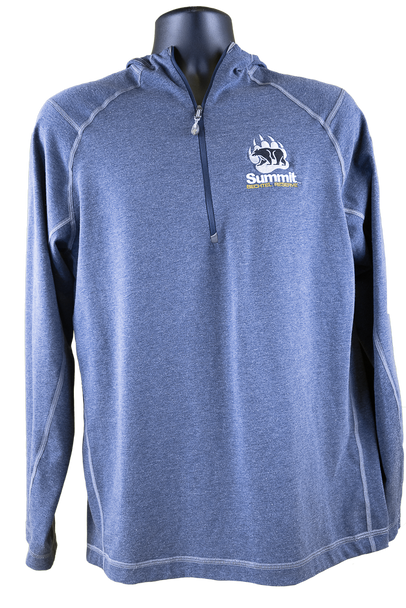 front view of heathered dust blue 1/4 zip pullover with hood (light gray lining) with gray and black bear/paw logo in right chest corner