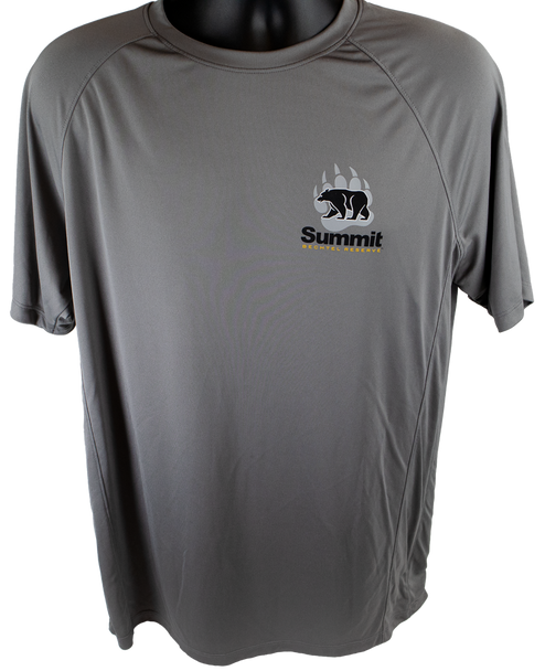 gray performance short sleeve tee with bear/paw logo in right chest corner (light gray paw, black bear and Summit wording)