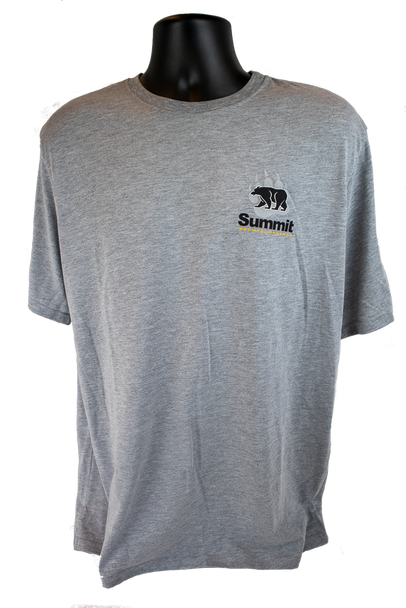 Light gray heathered tee shirt with small bear/paw logo in right chest corner (light gray paw, black bear and Summit logo)