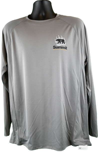 Titanium gray performance fabric long sleeve tee with small bear/paw logo in right chest corner (light gray paw, black bear and Summit lettering)