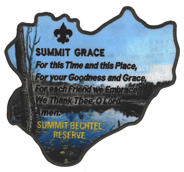 """Large back patch in the shape of the Summit Bechtel Reserve property, with the words of the Summit Grace stitched on top of a lake/mountain view. The words of the Summit grace are: """"for this time and this place, for your goodness and grace, for each friend we embrace, we thank thee oh Lord"""""""