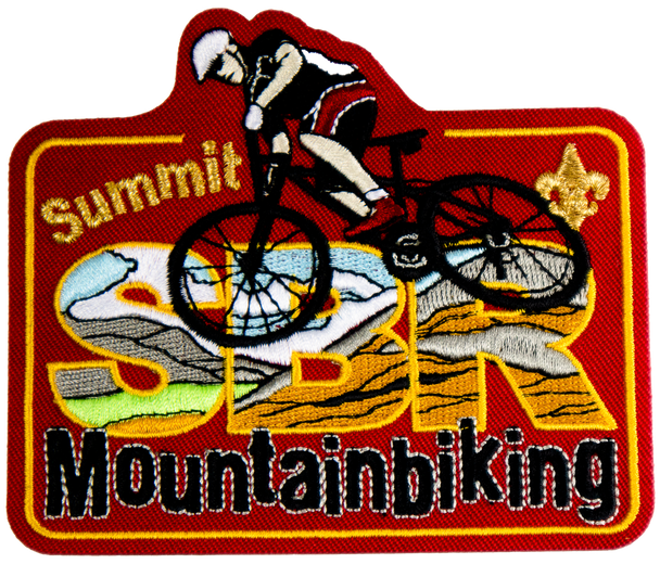 "A red rectangular patch with letters ""SBR"" filled with a mountain landscape, and partially covered by a person riding a mountain bike. The bottom of the patch says ""mountainbiking"" in black lettering."