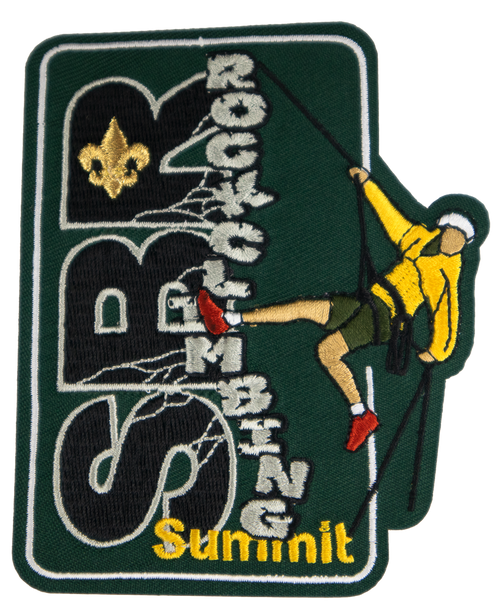 """A forest green rectangular patch, oriented portrait-style, with horizontal black lettering """"SBR"""" and vertical angled lettering """"rockclimbing"""" imitating a rock wall, with a climber in a yellow jacket repelling down."""