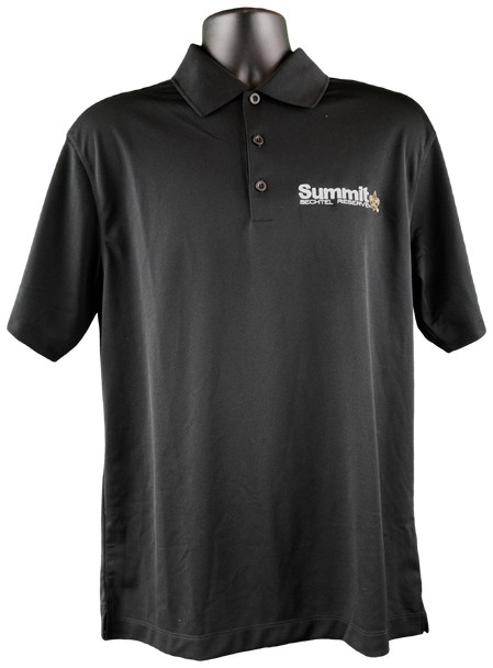 """Black Nike dri-fit short-sleeve polo with white embroidered """"Summit"""" logo on right chest corner"""