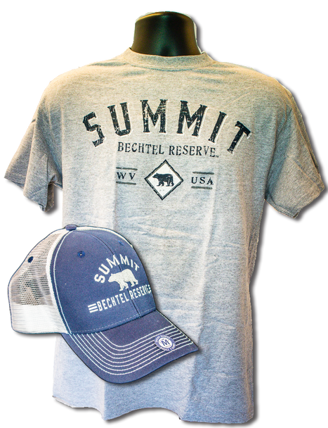"""Gray tee with large arched """"summit"""" lettering  in dark blue, above smaller lettering """"Bechtel Reserve"""" above a small black bear sillhouette between the letters """"WV"""" and """"USA"""". Superimposed on the t-shirt is a trucker hat with navy blue front and white mesh back with same logo in white embroidery."""
