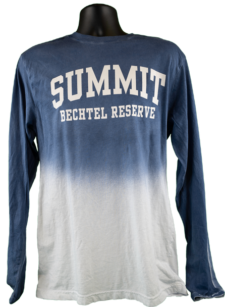 "Long sleeve cotton tee with dark blue upper half, fading into white lower half. On dark blue top, angled white collegiate lettering says ""Summit // Bechtel Reserve"""