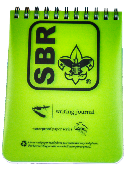 """Front view of notebook: green rectangular plastic front with large black SBR button logo and """"waterproof paper series"""""""