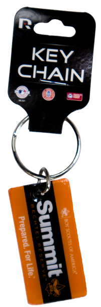 """Key ring with a rectangular plastic tag attached that has the Summit Logo in the center, wording  """"Boy Scouts of America"""" at the top and wording """"Prepared for Life"""" at the bottom."""