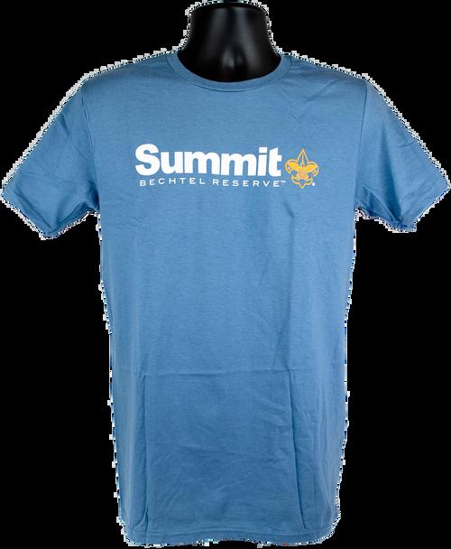 Men's blue short sleeve cotton tee with Summit Logo (Summit large print in white, Bechtel Reserve below Summit and BSA Fleur-de-lis in orange).  Logo is center chest.