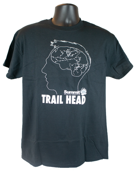 Men's short sleeve black cotton tee. The white design is the profile outline of a man's head, inside his head is his brain with the map showing the Summit trails. Below the head is the wording Summit TRAIL HEAD.