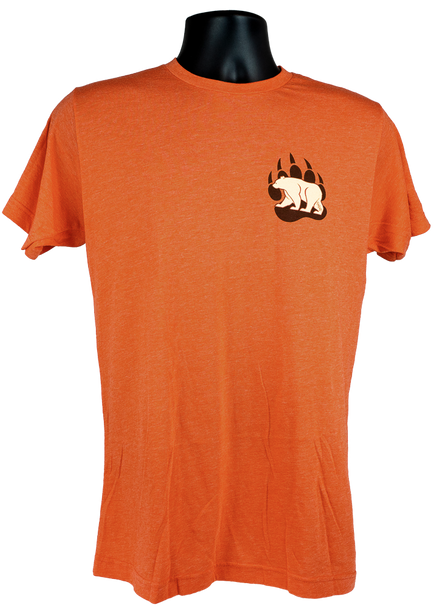 Burnt Orange short sleeve men's Tee. Front of tee has a screen print of the Summit Bear/Paw logo on the left chest in the colors black and cream -Front