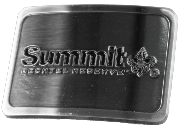 "Pewter colored rectangular buckle with Summit Bechtel Reserve logo raised above flat smooth surface, 3"" x 2""."