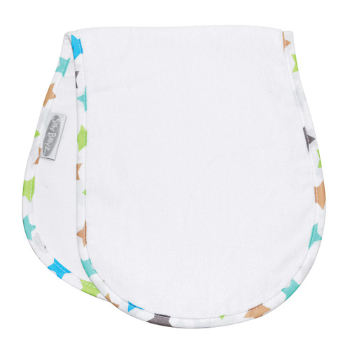 The absorbent fabric and waterproof membrane will keep everyone's clothes clean and dry at home our out and about. At a super handy 50 x 22.5cm out should bibs fit neatly into you nappy bag but still give you great coverage.