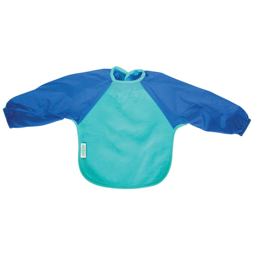 Our Long Sleeve Bib is terrific for self-feeders! The water-resistant nylon sleeves provide extra protection from food wobbling off a spoon or fork. Durable fleece front is suitable for both feeding and messy playtime. Backing is made with a water-resistant nylon to keep clothing and kids clean and dry! A great all-rounder.