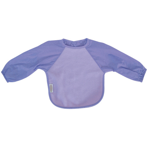 Terrific for self-feeders! The water-resistant nylon sleeves provide extra protection from food wobbling off a spoon or fork. Durable fleece front is suitable for both feeding and messy playtime. Backing is made with a water-resistant nylon to keep clothing and kids clean and dry! A great all-rounder.
