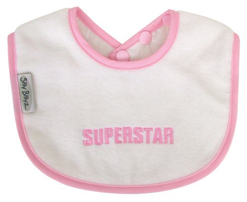 Sized just right to be your baby's first bib! The soft and liquid repellent fabric will keep baby's sensitive skin dry, plus it protects those first sweet outfits. Made from Snuggly Fleece with a water-resistant nylon backing.