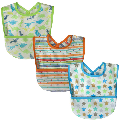 Our collection of pocket bibs means you can simply wipe the coated front section of the bib down after each meal and wash it as necessary. The sweet design cottons are coated with baby safe PU which is easy wash tumble dry safe on low.