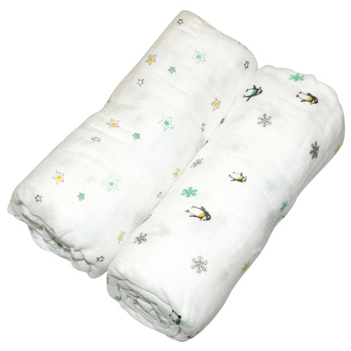 Muslin Swaddle Wrap 2pk - Neutral