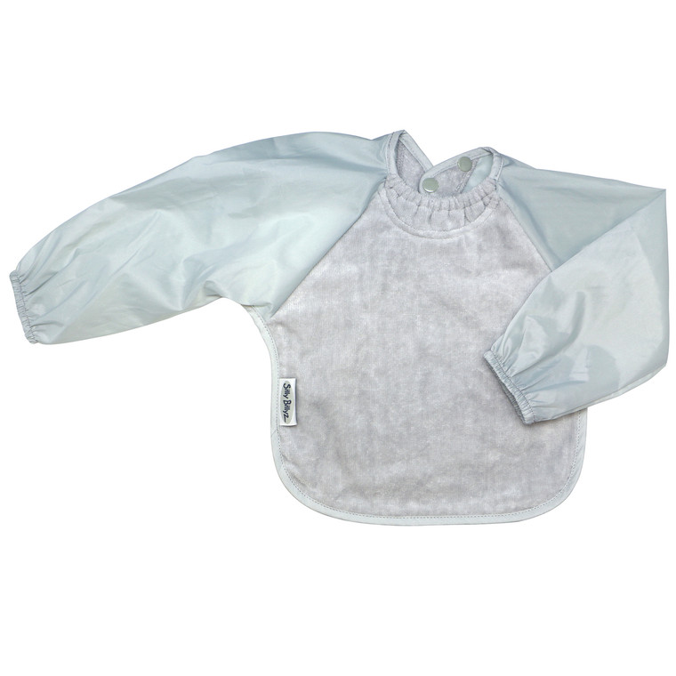 Terrific for self-feeders! The water-resistant nylon sleeves provide extra protection from food wobbling off a spoon or fork. Front is made from Snuggly velour cotton towelling with the unique snuggle neck guard which sits snug against your baby's neck to stop dribbles and spills.