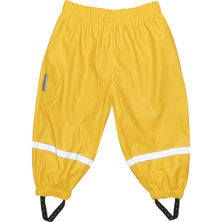 LET THERE BE MUD! - Reflective striping for added visibility and safety. - Elastic cuffs and adjustable elastic foot straps keep trousers legs down. - Elastic waist keeps the pants nice and snug while exploring
