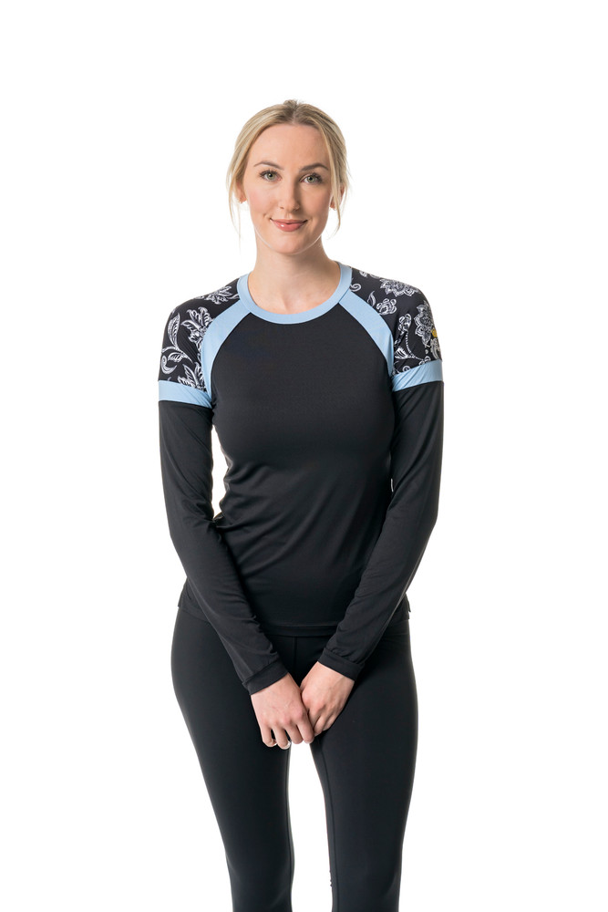 Black and  White Floral with Light Blue Trim Crew Neck