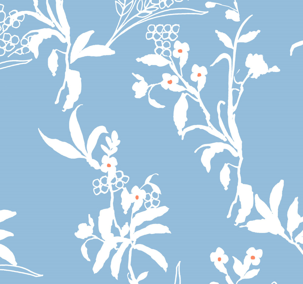 Cap Sleeve Light Blue and White Floral