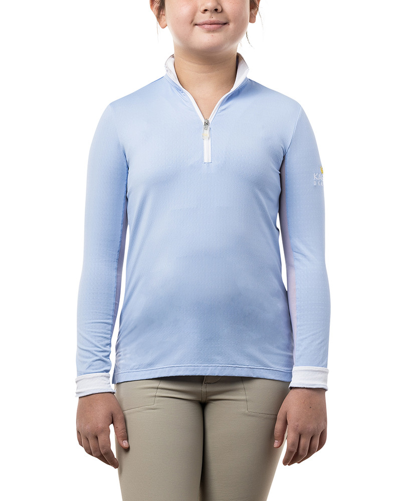Long Sleeve Light Blue and White Trim