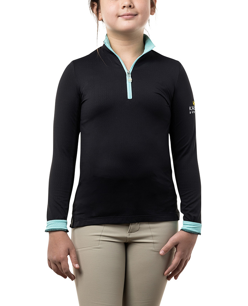 Long Sleeve Black with Turquoise Trim