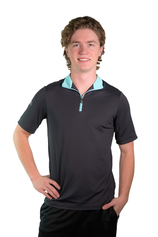 Henrik Men's UV Short Sleeve Shirt Black with Turquoise Trim