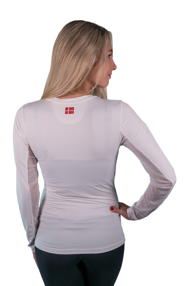 Long Sleeve Crew Neck White with White Trim