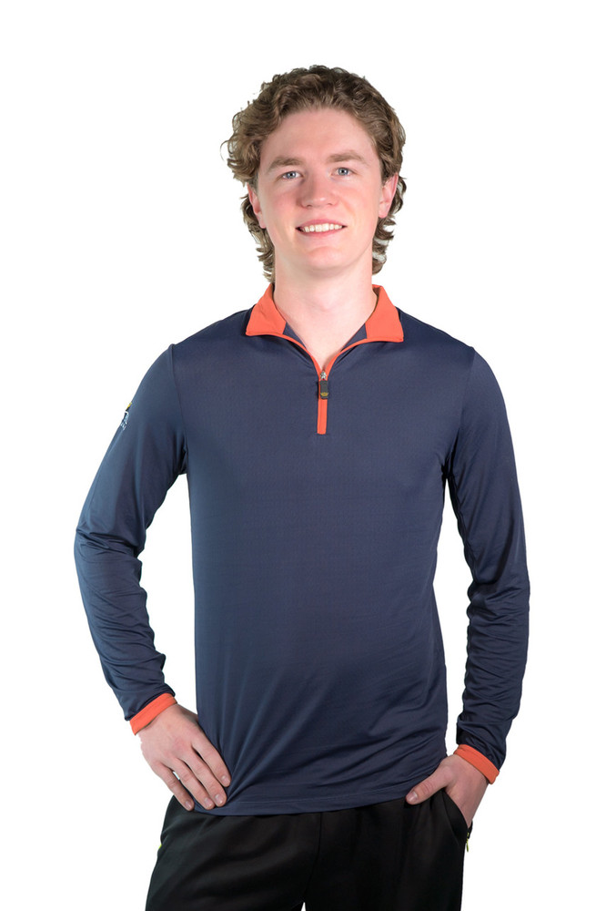 Henrik Men's UV Shirt Navy with Orange Trim