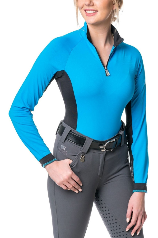 Long Sleeve Shirt Ibiza Blue with Black Accent