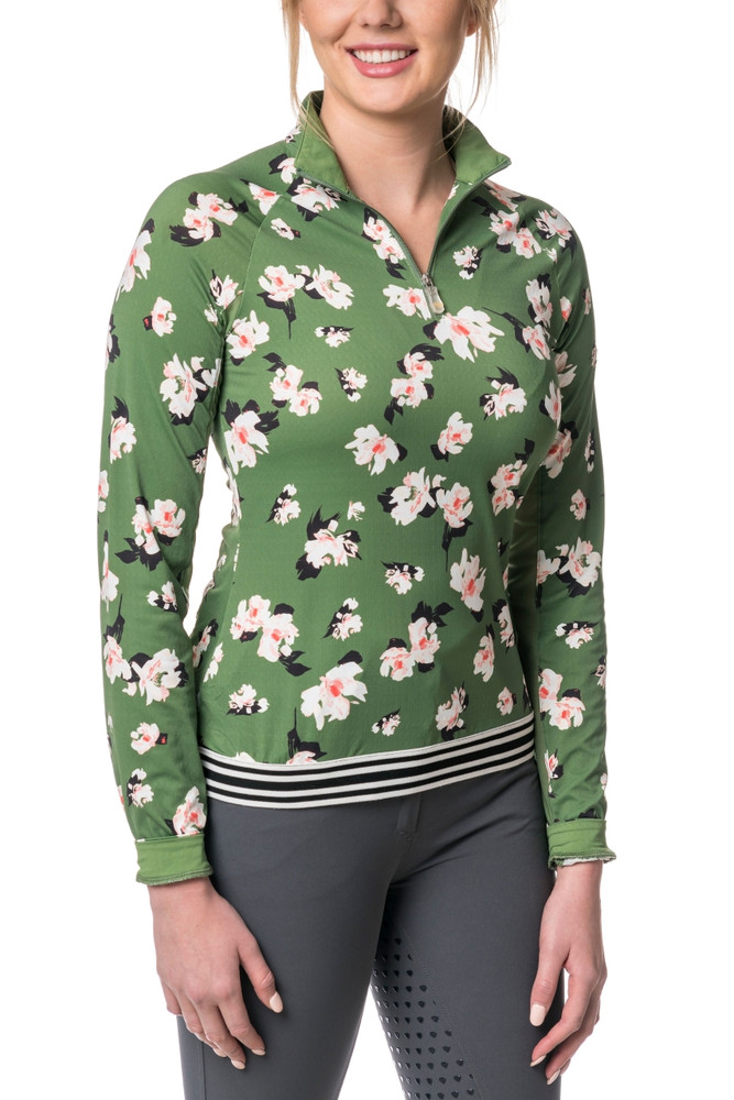Willow Green Floral with Black and White Trim