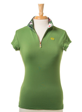 Cap Sleeve Willow Green with Floral Collar and Rose Gold Zipper