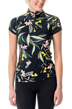 Cap Sleeve Black Tropical Print