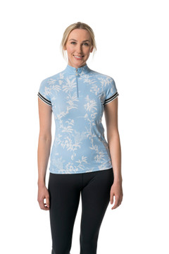 Cap Sleeve Light Blue Floral with Trim