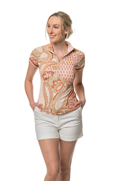 Blush Paisley Cap Sleeve with Trim