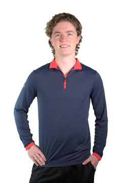 Henrik Men's UV Shirt Navy with Red Trim